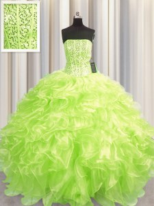 Clearance Visible Boning Beading and Ruffles Sweet 16 Quinceanera Dress Yellow Green Lace Up Sleeveless Floor Length