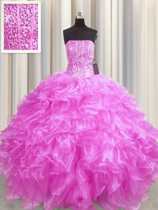 Visible Boning Floor Length Lace Up 15th Birthday Dress Rose Pink for Military Ball and Sweet 16 and Quinceanera with Beading and Ruffles