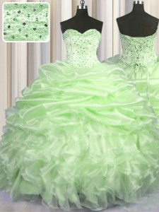 High Quality Pick Ups Brush Train Ball Gowns Quinceanera Dresses Yellow Green Sweetheart Organza Sleeveless With Train Lace Up