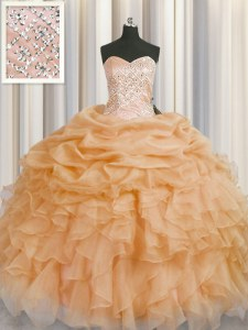 Noble Sleeveless Organza Floor Length Lace Up Quinceanera Gown in Gold with Beading and Ruffles