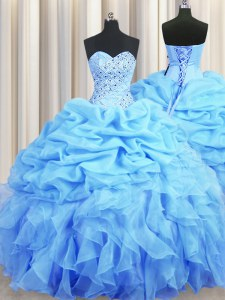 Super Pick Ups Ball Gowns Vestidos de Quinceanera Baby Blue Sweetheart Organza Sleeveless Floor Length Backless
