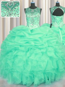 Cheap Scoop See Through Floor Length Turquoise Ball Gown Prom Dress Organza Sleeveless Beading and Ruffles and Pick Ups
