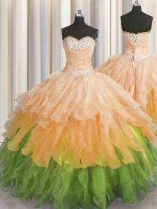 Pretty Sequins Ruffled Ball Gowns Ball Gown Prom Dress Multi-color Sweetheart Organza Sleeveless Floor Length Lace Up