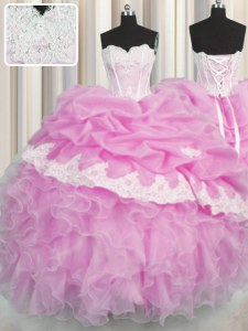 Delicate Pink Ball Gowns Beading and Appliques and Ruffles and Pick Ups 15th Birthday Dress Lace Up Organza Sleeveless Floor Length