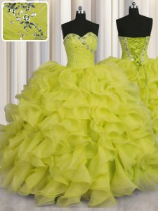 Yellow Green Quinceanera Dress Military Ball and Sweet 16 and Quinceanera and For with Beading and Ruffles Sweetheart Sleeveless Lace Up