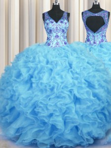 Stylish V-neck Sleeveless Organza Sweet 16 Dresses Beading and Appliques and Ruffles Zipper