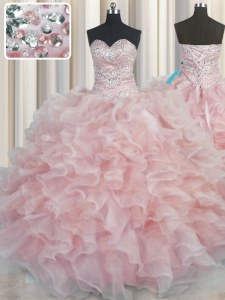 Bling-bling Pink Ball Gowns Beading and Ruffles Vestidos de Quinceanera Lace Up Organza Sleeveless Floor Length