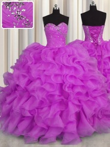 Shining Sleeveless Lace Up Floor Length Beading and Ruffles Vestidos de Quinceanera