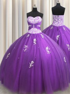 Customized Floor Length Purple Quinceanera Gown Sweetheart Sleeveless Lace Up