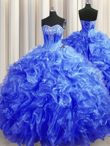 Royal Blue Quinceanera Gown Organza Sweep Train Sleeveless Beading and Ruffles