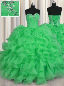 Most Popular Green Lace Up Vestidos de Quinceanera Beading and Ruffles Sleeveless Floor Length