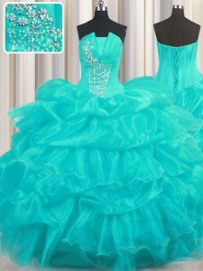 Floor Length Aqua Blue Quinceanera Gown Organza Sleeveless Beading and Ruffled Layers and Pick Ups