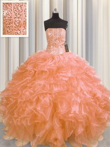 Beautiful Visible Boning Orange Strapless Neckline Beading and Ruffles 15 Quinceanera Dress Sleeveless Lace Up