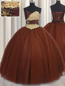 Burgundy Ball Gowns Sweetheart Sleeveless Tulle Floor Length Lace Up Beading and Appliques Vestidos de Quinceanera