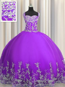 Noble Sleeveless Lace Up Floor Length Beading and Appliques Ball Gown Prom Dress