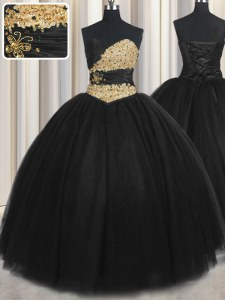 Floor Length Black Quinceanera Dresses Tulle Sleeveless Beading and Appliques and Ruching and Belt