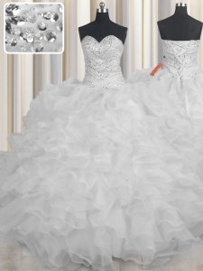 Perfect Ball Gowns 15th Birthday Dress White Sweetheart Organza Sleeveless Floor Length Lace Up