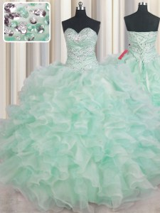 Floor Length Lace Up Quinceanera Dress Apple Green for Military Ball and Sweet 16 and Quinceanera with Beading and Ruffles