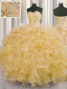 Enchanting Sweetheart Sleeveless Sweet 16 Dress Floor Length Beading and Ruffles Gold Organza