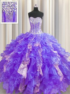 Sequins Visible Boning Purple Sleeveless Organza and Sequined Lace Up 15th Birthday Dress for Military Ball and Sweet 16 and Quinceanera