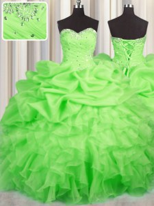 Glorious Ball Gowns Sweetheart Sleeveless Organza Floor Length Lace Up Beading and Ruffles and Ruching and Pick Ups 15th Birthday Dress