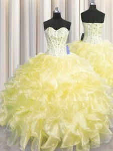 Wonderful Visible Boning Zipper Up Floor Length Light Yellow Sweet 16 Dress Organza Sleeveless Beading and Ruffles