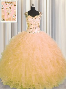 Sumptuous See Through Zipper Up Straps Sleeveless Tulle Quince Ball Gowns Beading and Ruffles Zipper