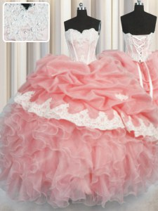 High Class Pick Ups Ball Gowns Quinceanera Dress Watermelon Red and Baby Pink Sweetheart Organza Sleeveless Floor Length Lace Up