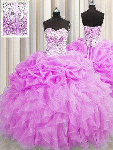 Adorable Visible Boning Sweetheart Sleeveless 15 Quinceanera Dress Floor Length Beading and Ruffles and Pick Ups Lilac Organza