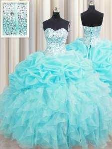 Simple Visible Boning Aqua Blue Sweetheart Lace Up Beading and Ruffles and Pick Ups Sweet 16 Dress Sleeveless