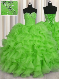 Most Popular Organza Lace Up Sweet 16 Dresses Sleeveless Floor Length Beading and Ruffles