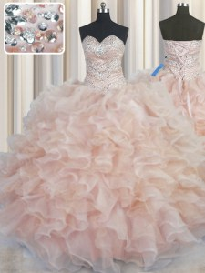 Floor Length Champagne Quince Ball Gowns Organza Sleeveless Beading and Ruffles
