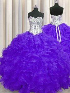 Super Organza Sleeveless Floor Length 15th Birthday Dress and Beading and Ruffles
