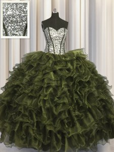 Luxurious Visible Boning Olive Green Sweetheart Lace Up Ruffles and Sequins Quinceanera Gown Sleeveless