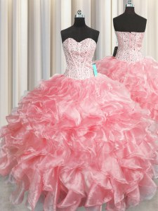 Exceptional Visible Boning Zipper Up Baby Pink Sleeveless Beading and Ruffles Floor Length Quinceanera Dress