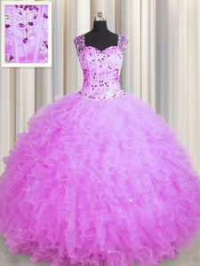 High Quality See Through Zipper Up Sleeveless Beading and Ruffles Zipper Sweet 16 Quinceanera Dress