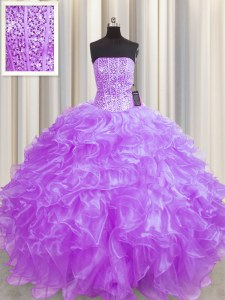 Ideal Visible Boning Lilac Ball Gown Prom Dress Military Ball and Sweet 16 and Quinceanera and For with Beading and Ruffles Strapless Sleeveless Lace Up