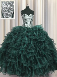 Decent Visible Boning Organza and Sequined Sweetheart Sleeveless Lace Up Ruffles and Sequins Quinceanera Gown in Peacock Green