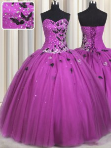 Sweet Fuchsia Sleeveless Floor Length Beading and Appliques Lace Up Quinceanera Gown