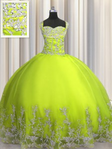 Ideal Floor Length Lace Up 15 Quinceanera Dress Yellow Green for Military Ball and Sweet 16 and Quinceanera with Beading and Appliques