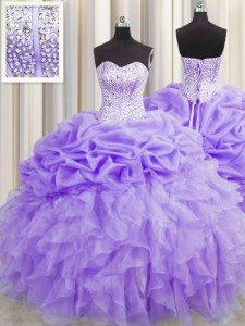 Sophisticated Visible Boning Sleeveless Organza Floor Length Lace Up Ball Gown Prom Dress in Lavender with Beading and Ruffles and Pick Ups