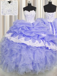 Lavender Lace Up Vestidos de Quinceanera Beading and Appliques and Ruffles and Pick Ups Sleeveless Floor Length