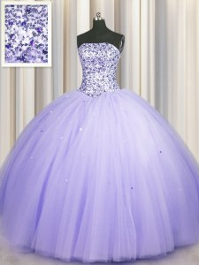 Decent Puffy Skirt Sleeveless Tulle Floor Length Lace Up Sweet 16 Dresses in Lavender with Beading and Sequins