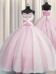 Rose Pink Ball Gowns Organza Spaghetti Straps Sleeveless Beading and Ruching Floor Length Lace Up Quinceanera Gown