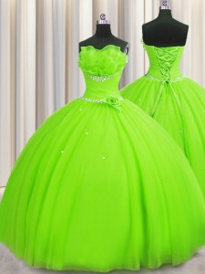 Classical Handcrafted Flower Strapless Neckline Beading and Sequins and Hand Made Flower Quinceanera Dresses Sleeveless Lace Up