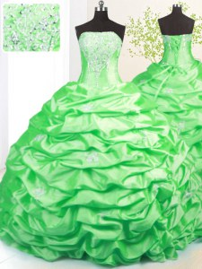 Sleeveless Sweep Train Beading and Pick Ups Lace Up Quinceanera Gown