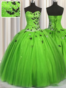 Fabulous Sleeveless Tulle Lace Up Quinceanera Dress for Military Ball and Sweet 16 and Quinceanera