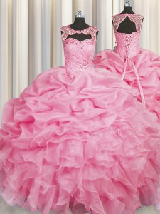 Scoop Organza Sleeveless Floor Length Sweet 16 Quinceanera Dress and Beading and Pick Ups