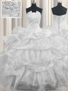Fitting Sleeveless Organza Floor Length Lace Up Sweet 16 Quinceanera Dress in White with Beading and Ruffled Layers and Pick Ups