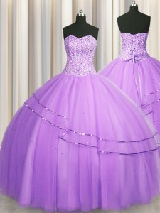 Visible Boning Puffy Skirt Tulle Sleeveless Floor Length 15th Birthday Dress and Beading